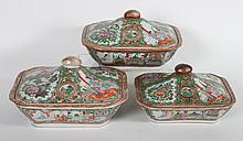 3 Chinese Export Rose Medallion serving dishes