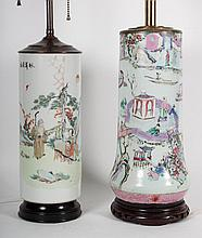 Two Chinese Export porcelain vase lamps