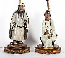Two Chinese Export figural lamps and vase lamp