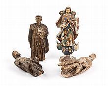 Four carved wood Santos figures
