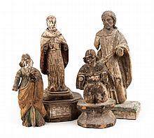 Four carved and polychromed Santos figures
