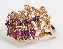14K gold garnet & diamond cocktail ring