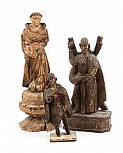 Three carved and polychromed wood Santos figures