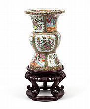 Chinese Export Rose Medallion Ku-form vase