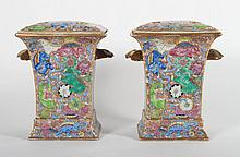 Pair of Chinese Export porcelain bough pots