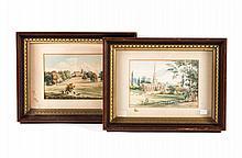English School, 19th c. Landscapes, watercolors