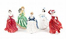 Five Royal Doulton china figures