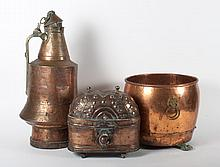 Three assorted copper objects