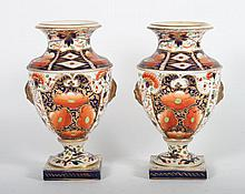 Pair of Derby china urns in the Old Japan pattern