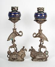 Pair of Chinese cloisonne and metal figural lamps
