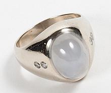 Gentleman's 14K white gold & star sapphire ring