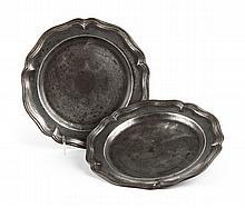 Pair of German Judaic pewter plates