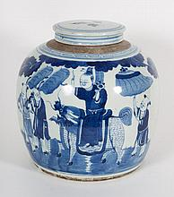 Chinese Export blue and white porcelain ginger jar