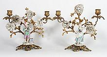 Pair rococo style figural candelabra