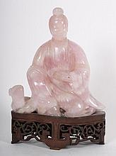 Chinese carved pink quartz Bodhisattva