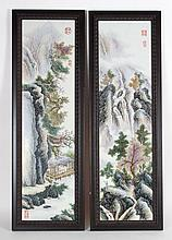 Pair of Chinese painted porcelain plaques