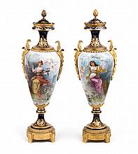 Pair of Sevres gilt-bronze-mounted porcelain urns