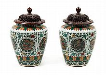Pr of Chinese Export Famille Verte porcelain vases