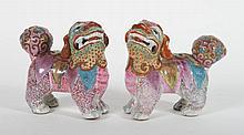 Pr Chinese Export Famille Rose porcelain foo dogs