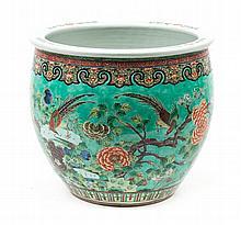Chinese Export Famille Verte porcelain jardiniere