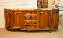 Louis XV style carved cherrywood marble top buffet