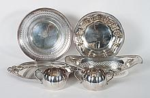 Six assorted American sterling silver table items