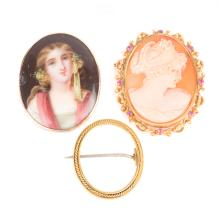 A Trio of Brooches Including a Cameo