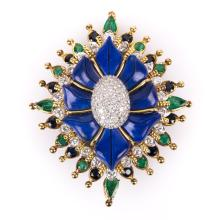 A Lady's Gold Carved Lapis and Diamond Brooch