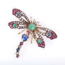 A Dragonfly Brooch with Diamonds and Gemstones