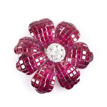 A Lady's Ruby and Diamond Flower Brooch