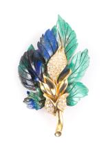 A 18K Gold Hand Carved Azurite & Diamond Pin