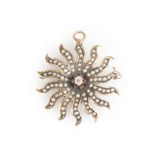 A Victorian Seed Pearl and Diamond Sunburst Pin