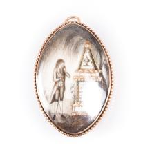 A Mourning Pendant/Brooch from 1791 in 9K Gold