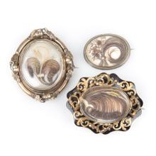 Three Victorian Brooches Featuring Feathered Hair
