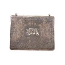 A Victorian engraved sterling silver minaudiere