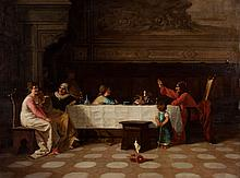 Amos Cassioli. The Banquet Table, oil on canvas