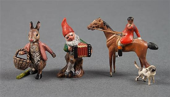 Austrian cold painted bronze Peter rabbit, gnome, and mounted fox hunter and dog