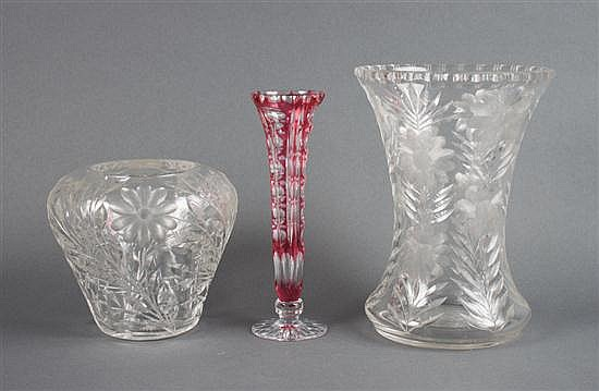 Two American cut glass vases, probably Mt. Washington Pairpoint, and a Czecho/Bohemian cranberry etched-to-clear trumpet vase