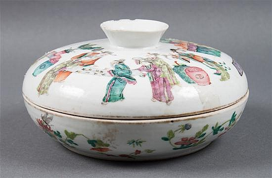 Chinese Export Famille Rose porcelain covered sectional condiment dish