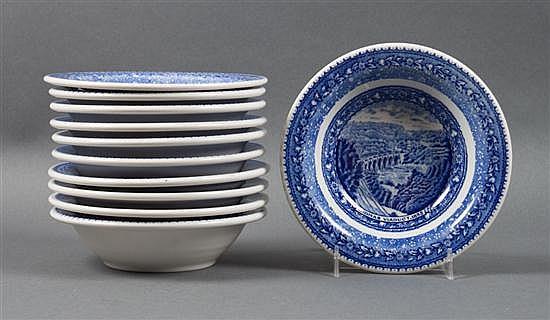 Set of 11 Lamberton Baltimore & Ohio railroad china dessert bowls