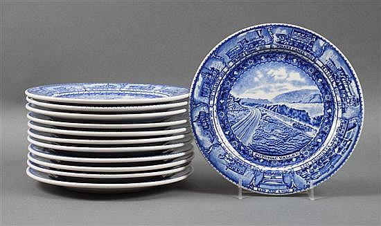Set of 12 Lamberton Baltimore & Ohio Railroad china luncheon plates