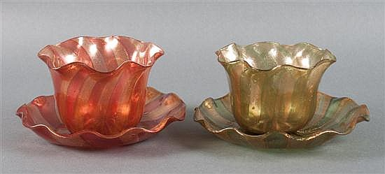 Pair of Venetian swirl glass cups and saucers