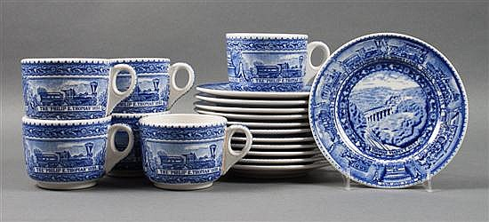 12 Lamberton Baltimore & Ohio Railroad china coffee cups with 12 saucers