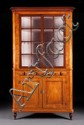 Federal tiger maple and cherrywood glazed panel corner cupboard, Pennsylvania or New England