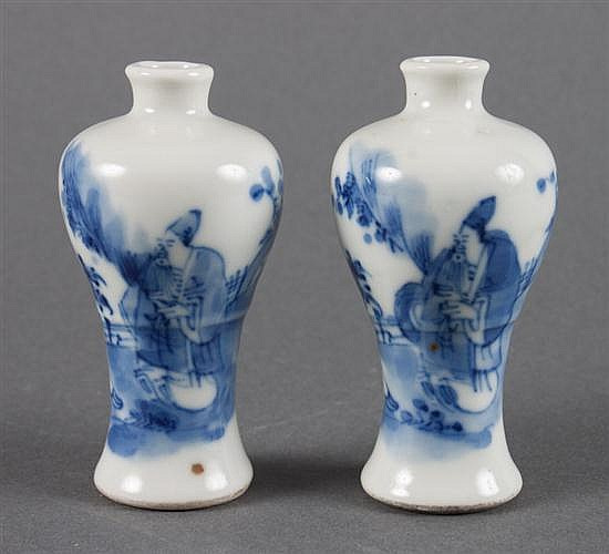 Pair of Chinese Export blue and white porcelain miniature vases