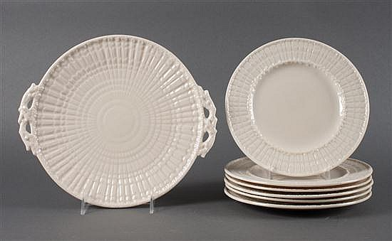 Belleek glazed parianware seven-piece partial dessert service in the