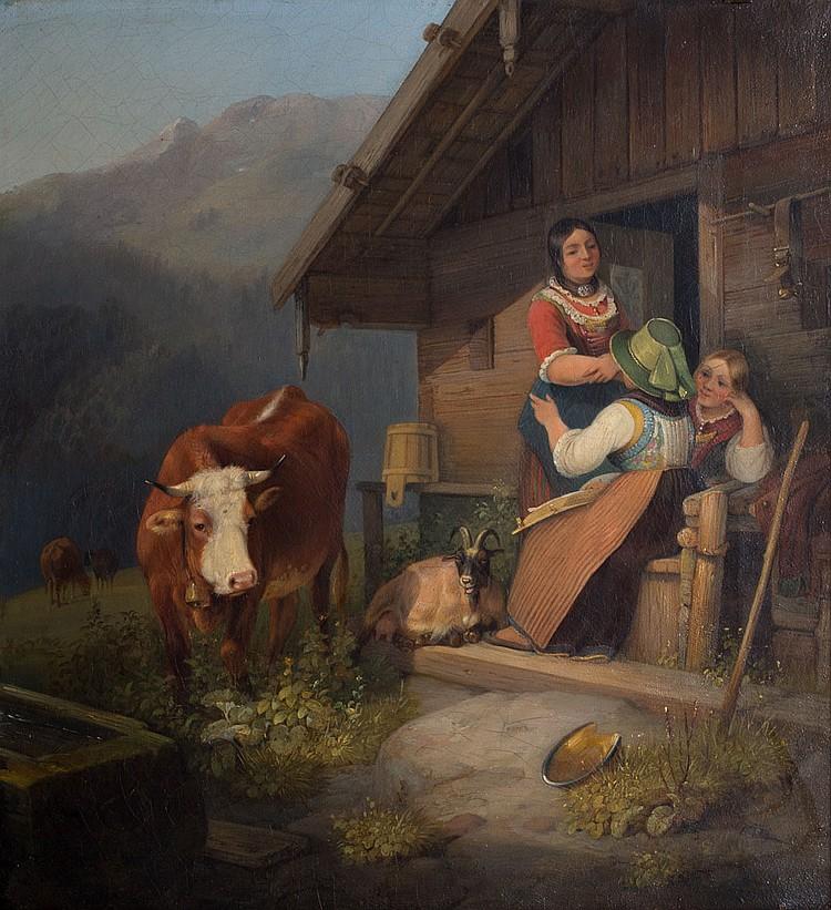 Attr. to Sebastian Habenschaden. Alpine Scene, oil