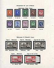 1952-60 UM collection on leaves, 1952 Wilding set, 1955-60 Castles 2r Type I, II & II