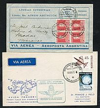 1929-72 first flight covers (5) incl. 1929 July 14th Ficarelli flight Buenos Aires-Po