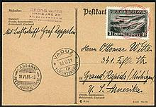 1931 10th June Vaduz, Liechtenstein - Lausanne Flight postcard franked 1fr Zeppelin s
